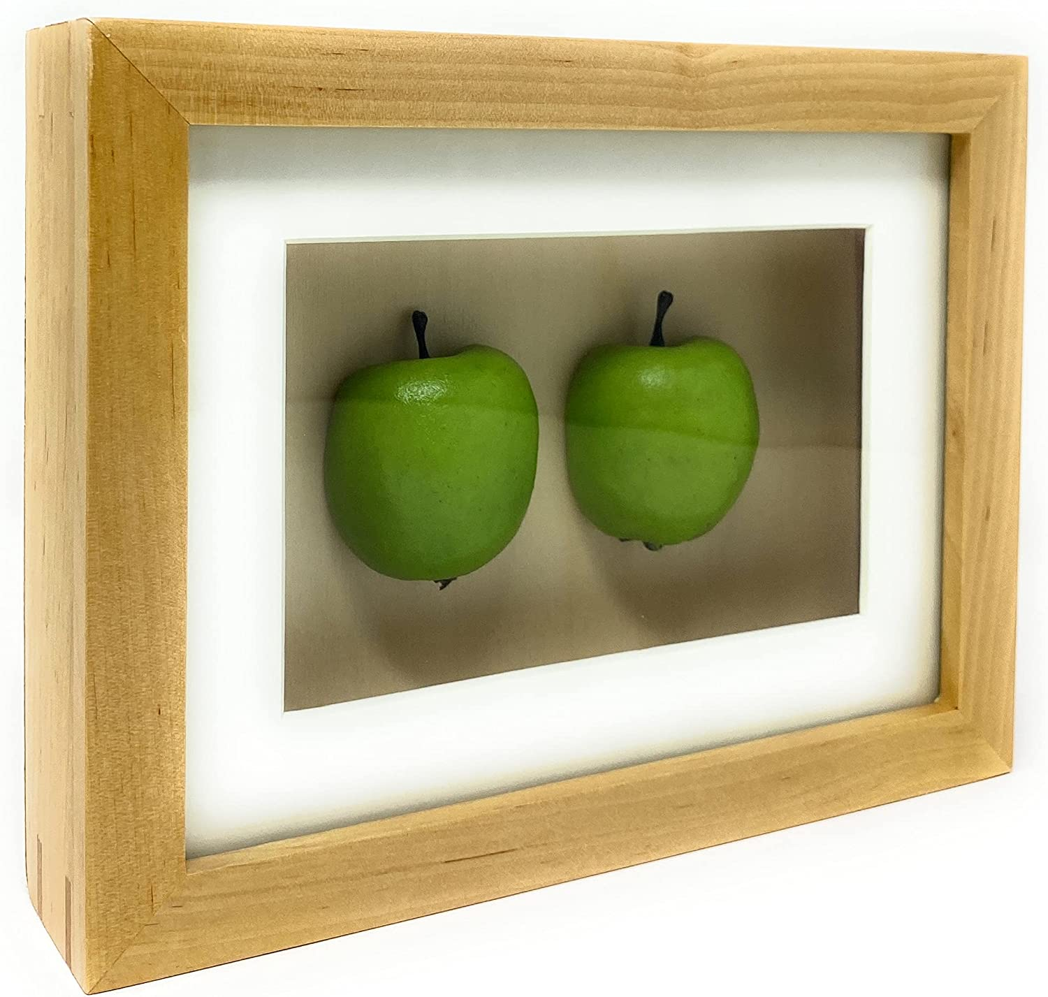 Kitchen Wall Art Decor Frames, 2 Green Apples Decor for Kitchen, Home and Restaurant Decorations - 8.1 x 6.2 x 1.5 inches (Green Apple)