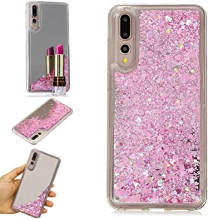 Huawei P20 Pro Case, KMISS Mirror Luxury Glitter Liquid Floating Bling Sparkle Fashion Creative Design Mirror Bumper Protective Cover Huawei P20 Pro (Pink)