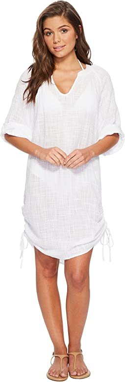 51d2730a8f4359 White. 125. Seafolly. Bali Hai Textured Gauze Beach Shirt Cover-Up