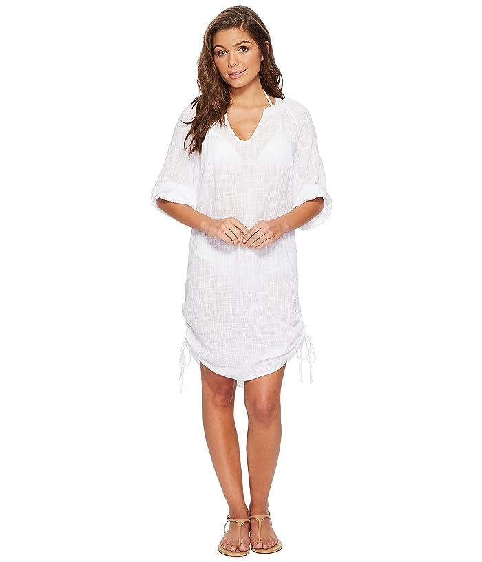 Seafolly Bali Hai Textured Gauze Beach Shirt Cover-Up (White) Women