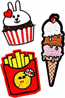 PP Patch Set 3 Rabbit Cupcakes Love Love, French Fries Chips Potatoes Retro Fun, LCE Cream Cone Patch for Bags Jacket T-Shirt Embroidered Sign Badge Costume DIY Applique Iron on Patch