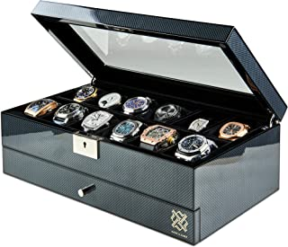 HAWK & GABLE Specter Valet Premium 12 Slot Watch Box Organizer with Lock and Glass Display | Watch Box with Valet Drawer f...