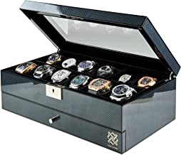 HAWK & GABLE Specter Valet Premium 12 Slot Watch Box Organizer with Lock and Glass Display   Watch Box with Valet Drawer f...