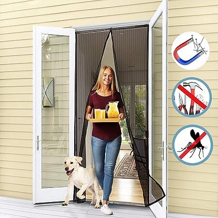 Negro 170x230CM WISKEO Mosquitera Puerta Magnetica Cierre Magn/ético Autom/ático Que Cortina Adhesiva Protecci/ón contra Mosquitos Pantalla F/ácil de Ensamblar Balcones Cocina