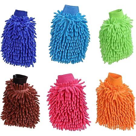 Tsunnee 6 X Chenille Mikrofaser Auto Waschhandschuh Auto Reinigungshandschuhe Ultraweiche Waschhandschuhe Für Autoreinigung Und Haushaltsreinigung Küche Haushalt