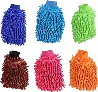 KEESIN Autowashandschoen, ultrazachte premium microvezel washandschoenen voor de auto en het huishouden, 6 stuks
