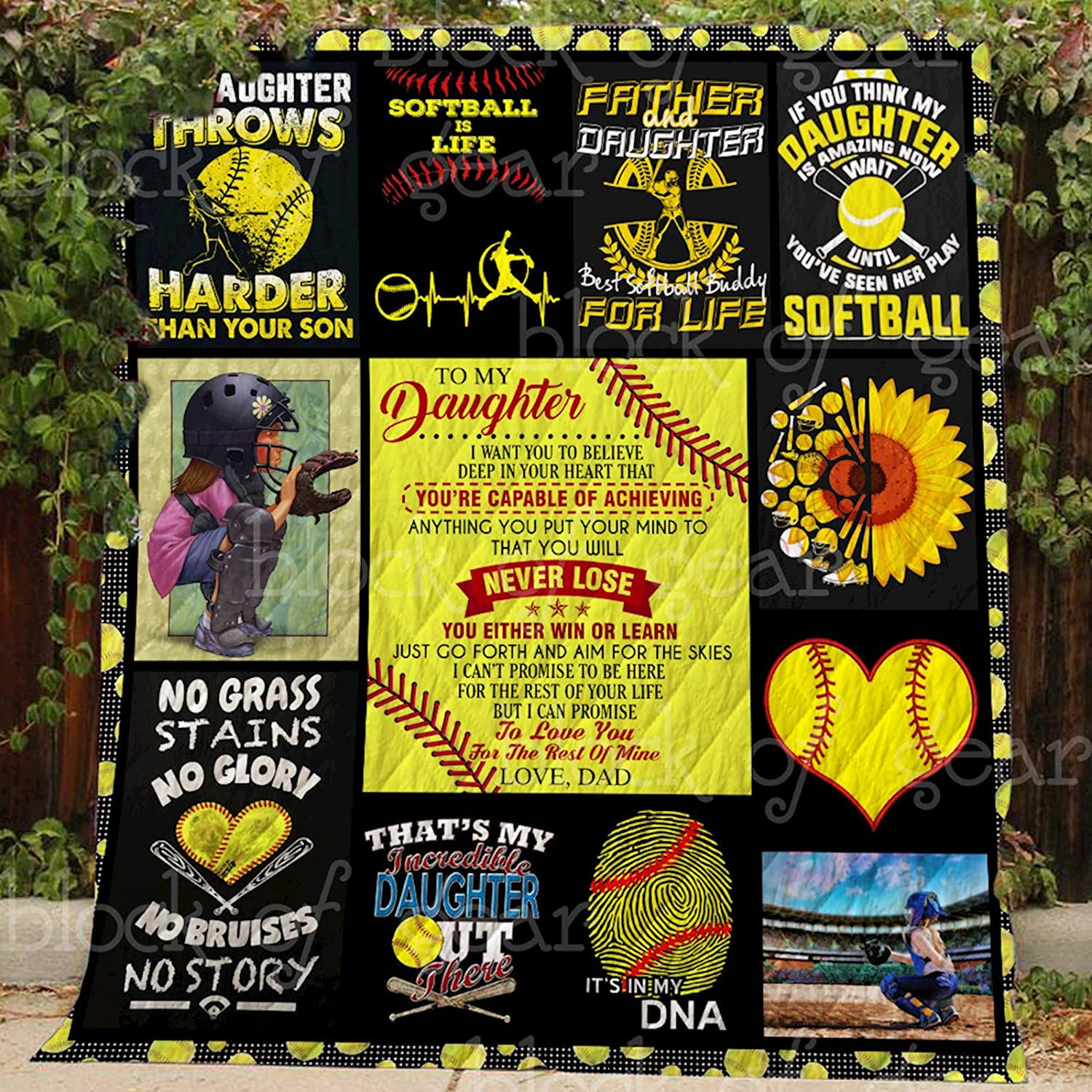 Softball for Daughter Quilt Th611, Queen All-Season Quilts Comforters with Reversible Cotton King Queen Twin Size - Best Decorative Quilts-Unique Quilted for Gifts