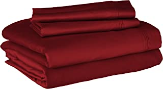 100% Egyptian Cotton 650 Thread Count, Olympic Queen 4-Piece Sheet Set, Deep Pocket, Single Ply, Solid, Burgundy