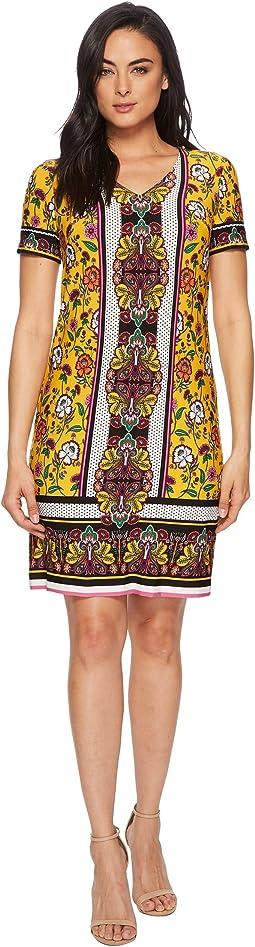 Clover Floral Scarf V-Neck Short Dress