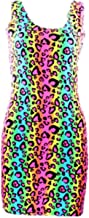 Neon Nation EAST KNITTING Neon Multi Colored Cheetah Animal Print Tube Bodycon Party Dress Costume