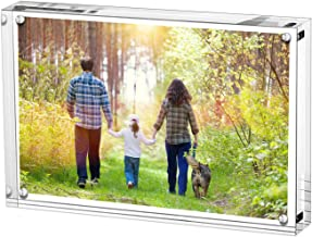 Boxalls 5x7 Inches Acrylic Picture Frame, Desktop Frameless Photo Frame with Magnetic, Double Sided Transparent