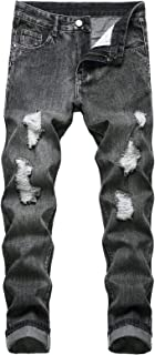 Sponsored Ad - LUCKAMILEE Men's Ripped Jeans,Distressed Destroyed Relaxed Straight Fit Denim Pants