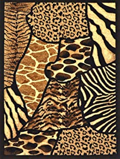 Animal Skin Prints Patchwork Leopard Zebra Rugs 4 Less Collection Area Rug R4L 70 (5'2''x7'2'')