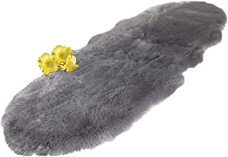 Chesserfeld Luxury Faux Fur Sheepskin Rug, Gray, 2ft x 6ft with Thick Pile, Machine Washable, Makes a Soft, Stylish Home Décor Accent for a Kid's Room, Bedroom, Nursery, Living Room or Bath