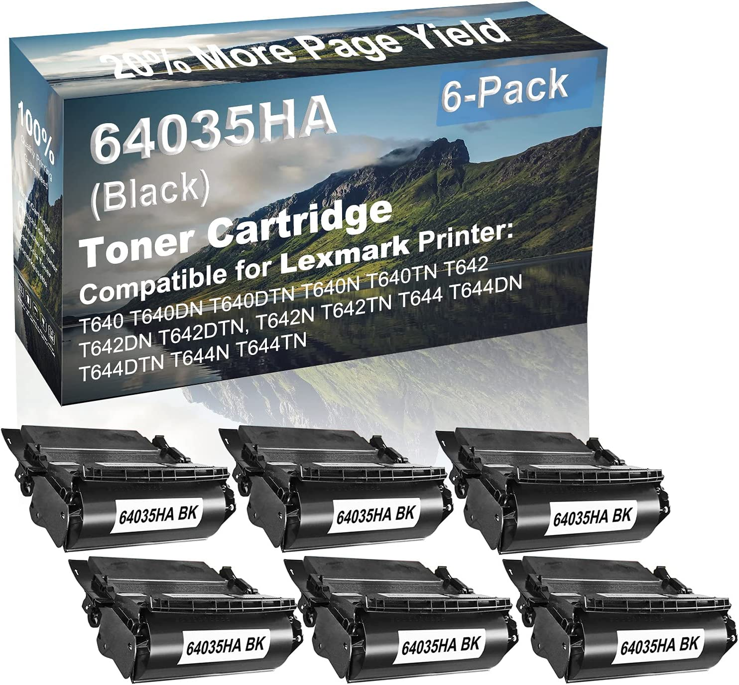 6-Pack Compatible High Yield T644, T644DN, T644DTN, T644N, T644TN Printer Cartridge Replacement for Lexmark 64035HA Toner Cartridge (Black)