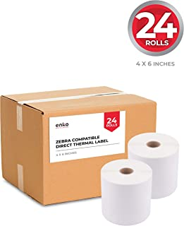"""enKo (24 Rolls, 10,800 Labels) 4 x 6"""" Direct Thermal Address Shipping Labels (4 x 6"""") Compatible for Zebra 2844 ZP-450 ZP-500 ZP-505, Neatoscan"""