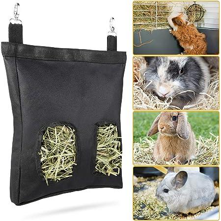 Geegoods Rabbit Hay Feeder Bag, Guinea Pig Hay Feeder Storage ,Hanging Feeding Hay for Small Animals Larege Size 600D Oxford Cloth Fabric