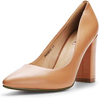 IDIFU Women's IN4 Chunky-HI Classic Closed Pointed Toe Pumps High Chunky Block Heels Dress Office Shoes Beige Size: 5
