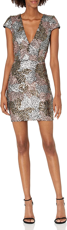 Dress the Population Women's Zoe Plunging Sequin Mini Dress, Matte Bronze/Multi, m