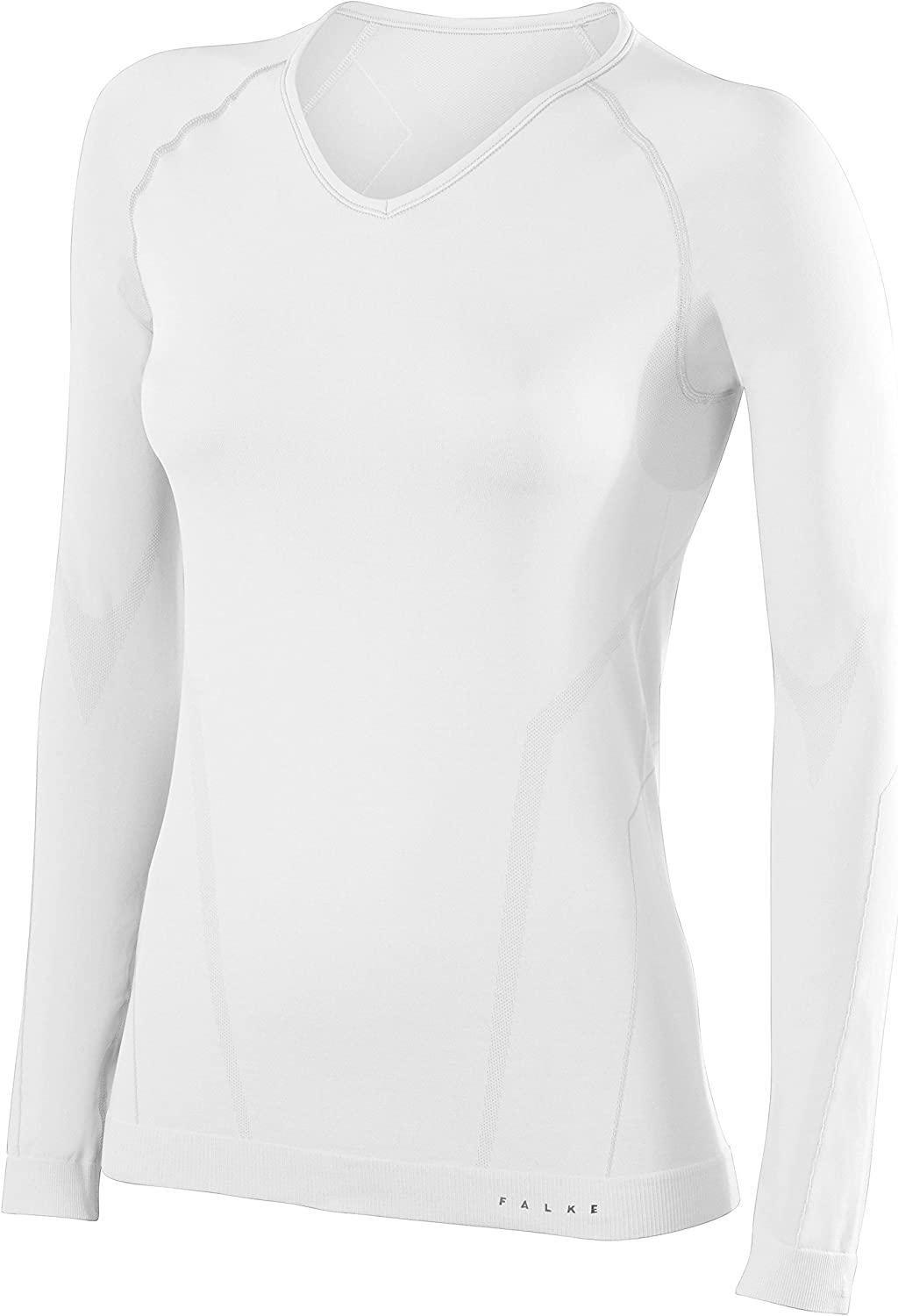 Falke Womens Tight Fit Long Sleeve V Neck Shirt  White