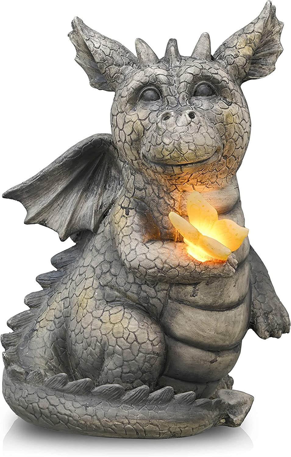 TERESA'S COLLECTIONS Pacific Dragon Garden Statues with Solar Lights, Stone Finished Siting Baby Dragon Garden Figurines and Sculpture for Home Outdoor Lawn Yard Decor ( 9.1 Inch Tall)