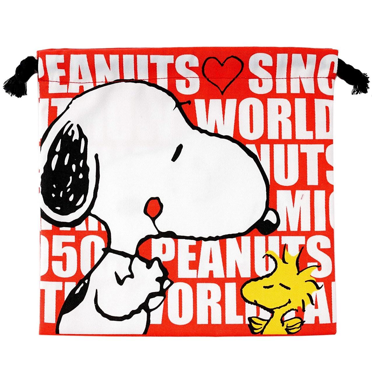 船形不完全類人猿スモール?プラネット 巾着 レッド 20cm×22cm スヌーピー 両面プリント ロゴ