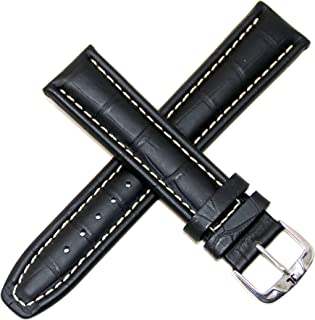 Jacques Lemans 22MM Alligator Grain Genuine Leather Watch Strap 8.25 Inches Black with Silver Stainless Steel JL Initial B...