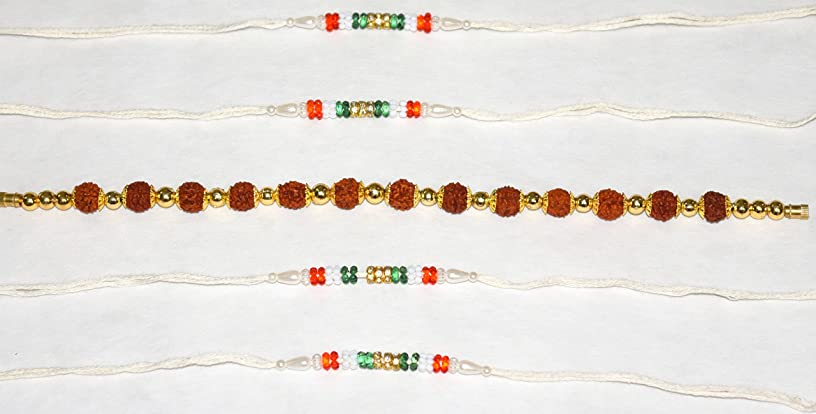 Rakhi Thread, Best for Your borhter/sibbling Multi Color, with Classic Work rudraksh and fine moti Work(Set of 5, Color May Vary)