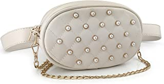 Quilted Pearl Studded Pack Waist Bag Chain Cross Body Bag Multifunction Women Purse (Beige)
