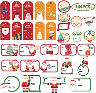 KIDPAR 144 PCS Christmas Gift Tags Self-Adhesive Stickers for Festival Presents, Wrapping Paper and Gift Bags Holiday Decorative Labels Decals