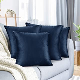"Nestl Bedding Throw Pillow Cover 18"" x 18"" Soft Square Decorative Throw Pillow Covers Cozy Velvet Cushion Case for Sofa Couch Bedroom, Set of 4, Navy Blue"