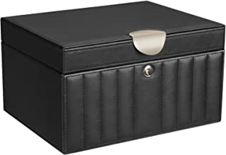 SONGMICS Jewelry Box with Mirror, 2-Layer Quilted Jewelry Organizer with Removable Tray, Lockable Jewelry Case, Gift for Loved Ones, Black UJBC021BK