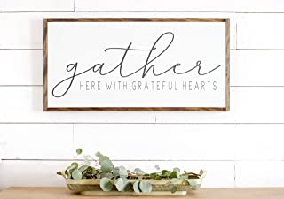 Bruyu5se Framed Wood Sign Rustic Wooden Sign Gather Here with Grateful Hearts Sign Signs Farmhouse Sign Dining Room Wall Decor Farmhouse Wall Decor 12 x 22 Inch Decorative Sign