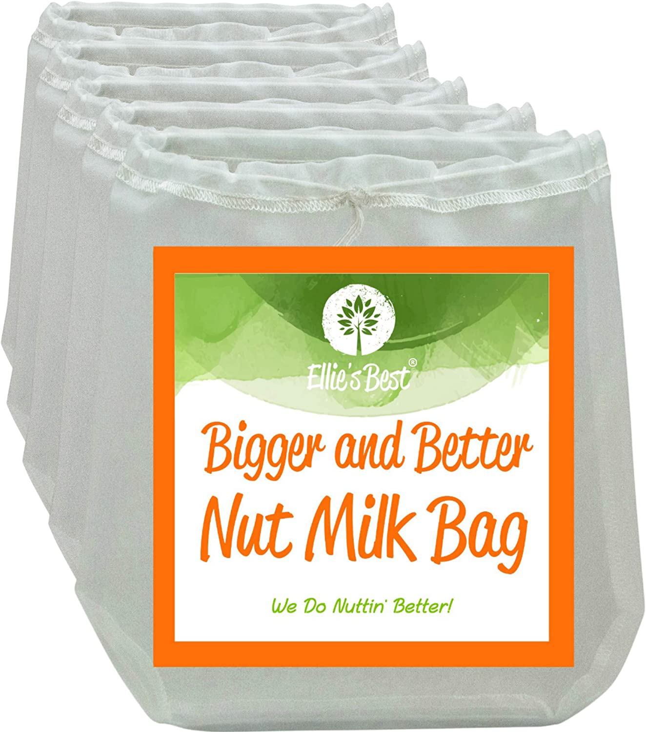 PRO QUALITY NUT MILK BAGS - 5 Commercial Grade 12 X12  Reusable Almond Milk Bag & All Purpose Food Strainer - Fine Mesh Nylon Cheesecloth & Cold Brew Coffee Filter - Free Recipes & Videos (5 Pak)
