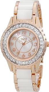 Burgi Women's BUR066WTR Ceramic Bracelet Baguette Quartz Watch