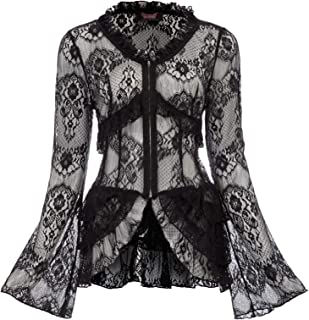 Women's Bell Sleeve Cardigan Lace Crochet Casual Tops Sheer Cover Up