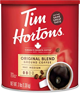 Best Tim Hortons Original Blend, Medium Roast Ground Coffee, Made with 100% Arabica Beans, 48 Ounce Canister Review