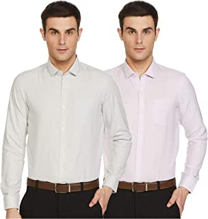 Excalibur by Unlimited Men's Plain Regular Fit Formal Shirt (Pack of 2)(Colors & Print May Vary)