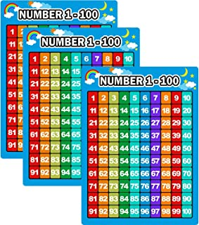 Bememo 3 Pieces Number 1-100 Charts Educational Preschool Posters Learning Poster for Toddlers