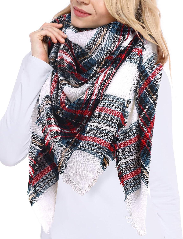 Bess Bridal Women's Plaid Blanket Scarf Winter 5 popular Cozy Max 88% OFF Warm Tartan