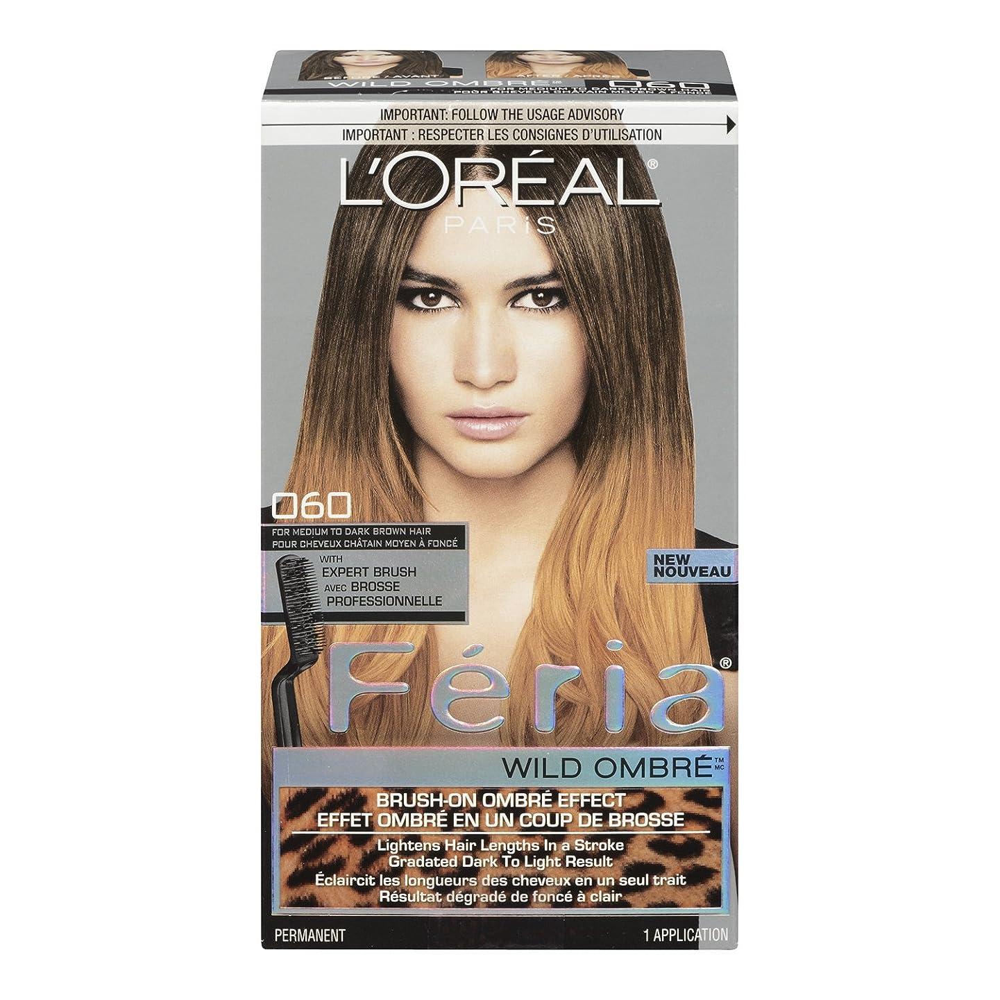 チャールズキージングオーバーフロースライムL'Oreal Feria Wild Ombre Hair Color, O60 Medium to Dark Brown by L'Oreal Paris Hair Color [並行輸入品]