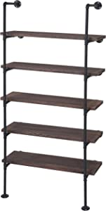 Scaffale libreria HWC-C45 Metallo Legno di paulonia 5 Ripiani 28x80x165cm ~ Marrone