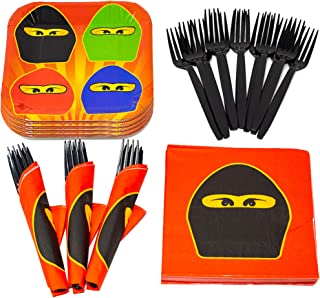 Ninja Master Value Party Supplies Pack (58+ Pieces for 16 Guests), Value Party Kit, Ninja Master Plates, Ninja Master Birt...