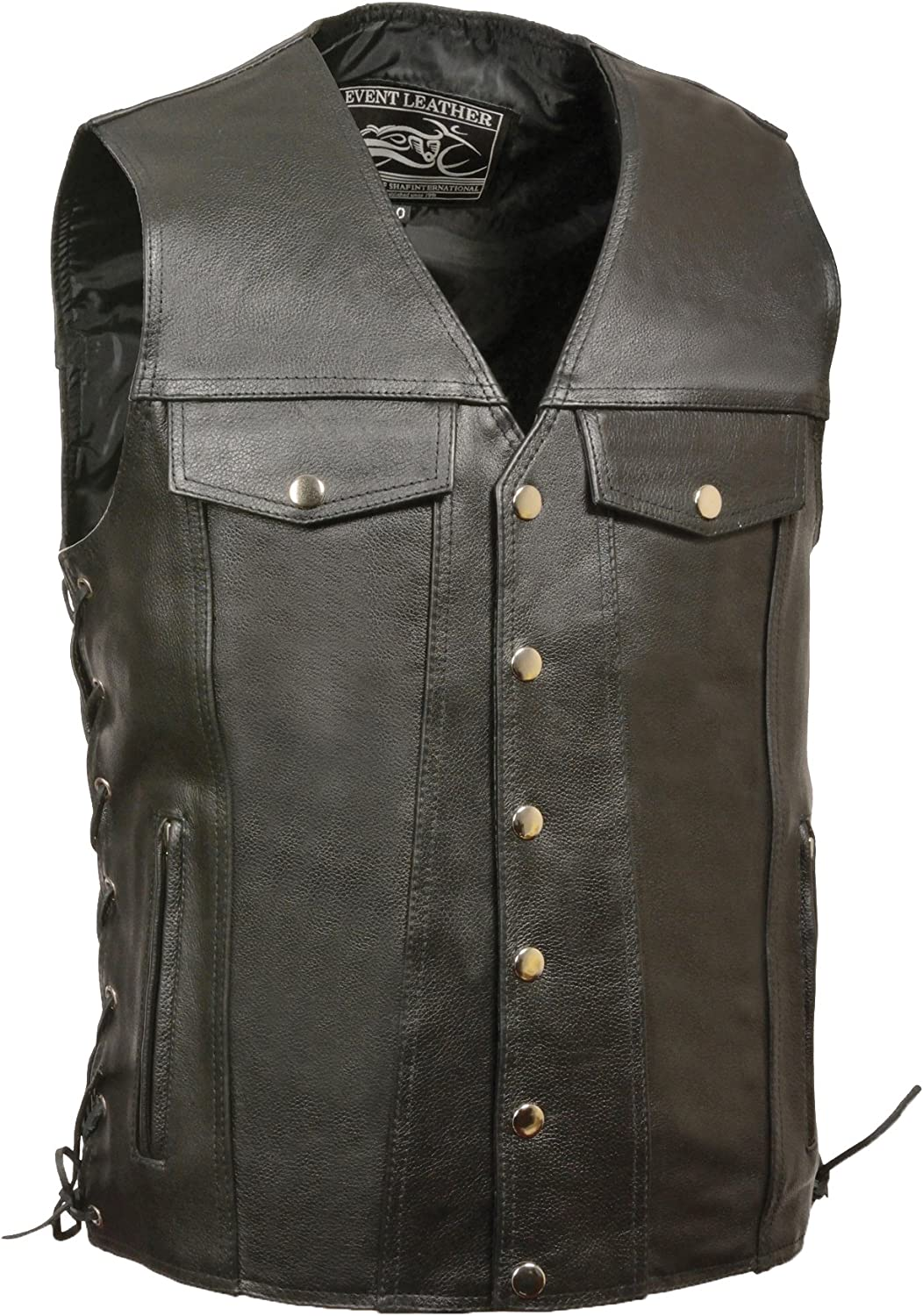 Event Leather Men's Denim Style Vest with Zippered Pockets