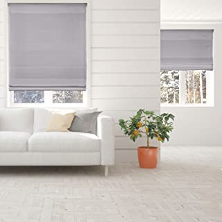 Calyx Interiors Cordless Lift Fabric Roman Shades in Size 34-Inch Width x 72-Inch Height Color Light Filtering Grey