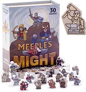 Meeples of Might - 30 カラフル ヒーロー 16mm ミニ - 木製ファンタジー ミープル ミニチュアアクセサリー ポーン テーブルトップ ロールプレイング RPG 戦略 ボードゲーム バルクトークンピース