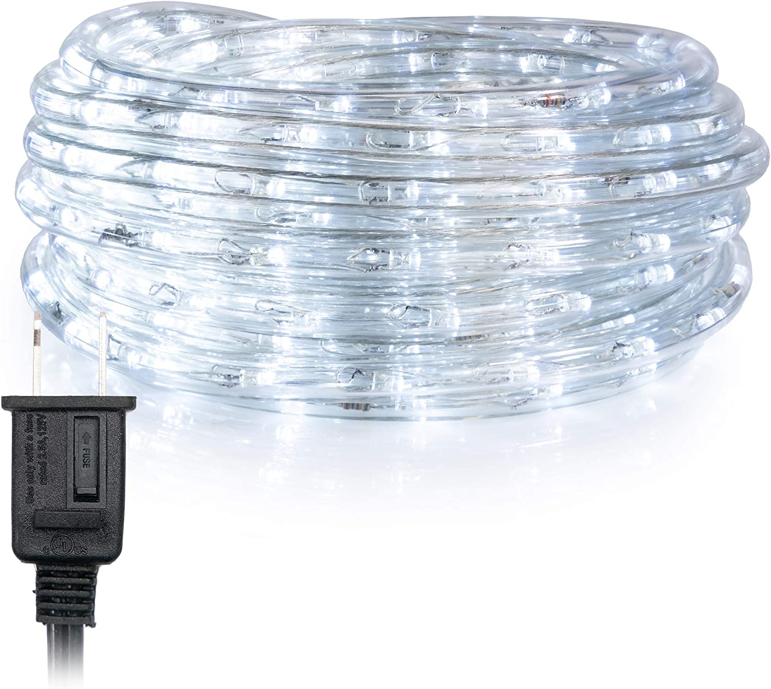 WYZworks 100' feet Cool White 3 8  LED Rope Lights   UL & ETL Certified IP65 Water Resistant Flexible 2 Wire Accent Holiday Christmas Party Decoration Indoor Outdoor Lighting