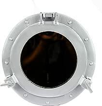 Nagina International Powder Coated Silver Wall Mounted Nautical Premium Aluminum Vintage Mirror | Ship's Porthole Window | Pirate's Maritime Nautical Themed Decor 30 inches, Silver Deco (Mirror)