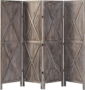 oneinmil 4 Panel Wood Room Divider, 5.9 Ft Tall Folding Privacy Screens Room Divider, Freestanding Partition Wall Dividers, R