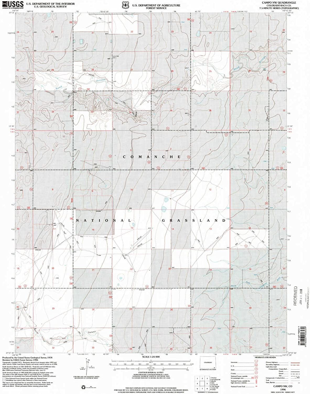 Campo NW CO topo map, 1 24000 Scale, 7.5 X 7.5 Minute, Historical, 1996, Updated 2000, 26.8 x 21.8 in